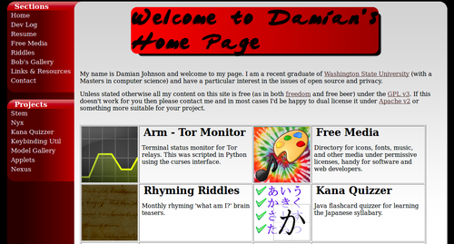 old homepage